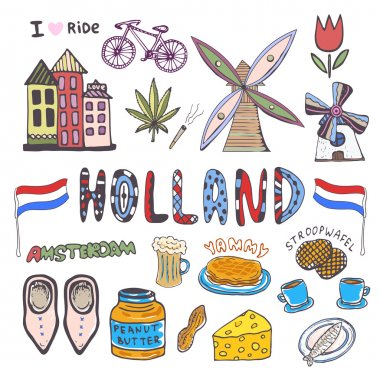 Doodle hand sketch collection of Holland icons.
