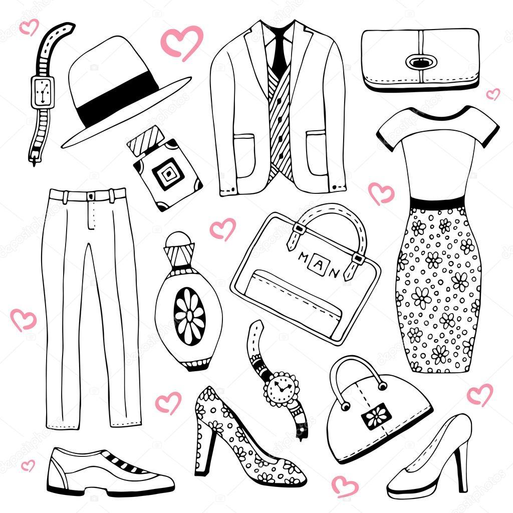 19e4061a0 Conjunto de ropa y accesorios de moda. Moda de verano garabatos colección.  Iconos de dibujo vectorial para diseño de belleza hombre y mujer -  imágenes  ...