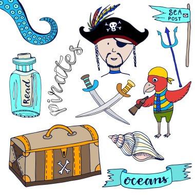 Cartoon pirates set.