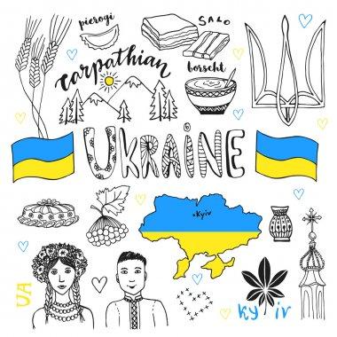 line art set of Ukraine signs
