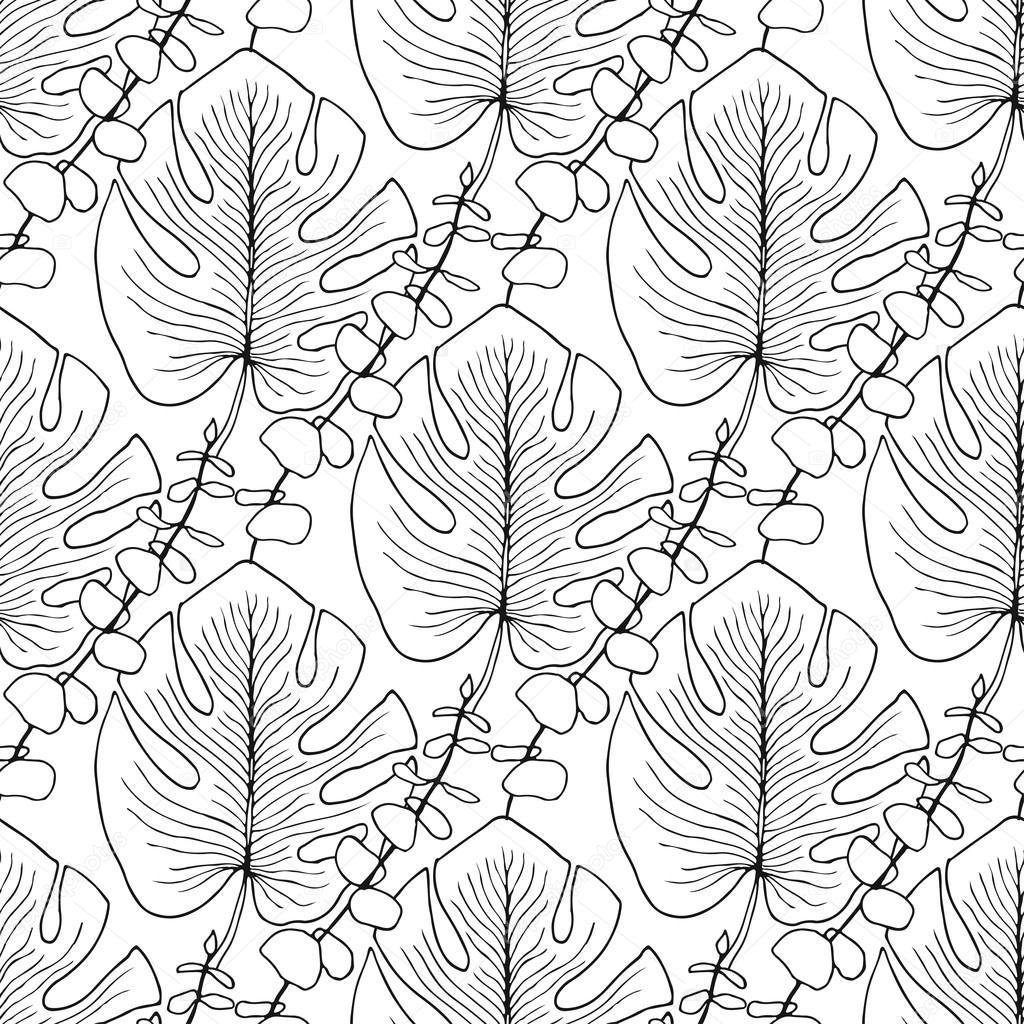 Patrón de vector las hojas tropicales — Archivo Imágenes Vectoriales ...