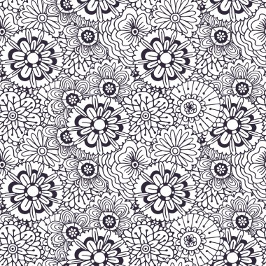 Vector pattern with abstract flowers ornament.