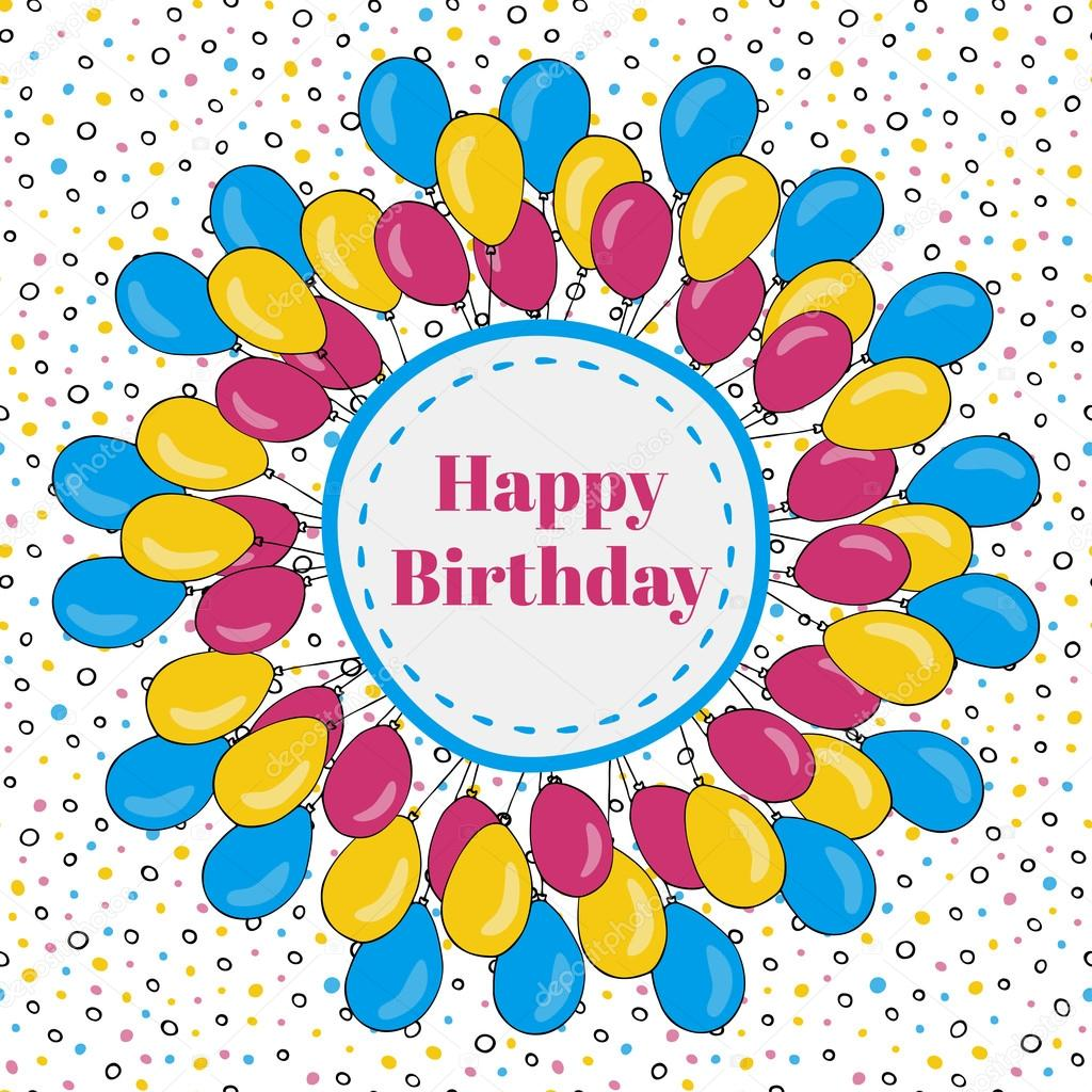 Verjaardag Frame Met Kleurrijke Ballonnen Stockvector C M Ion