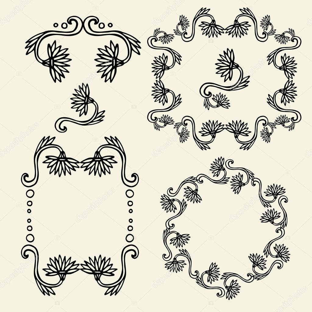 Set of vintage floral frames and design elements - vector illustration