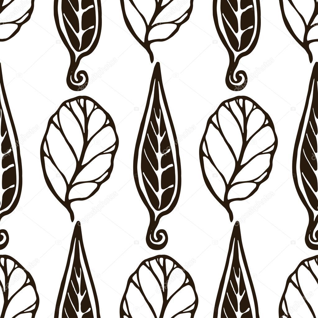Patrón blanco y negro sin costuras decorativo con hojas. Textura con ...