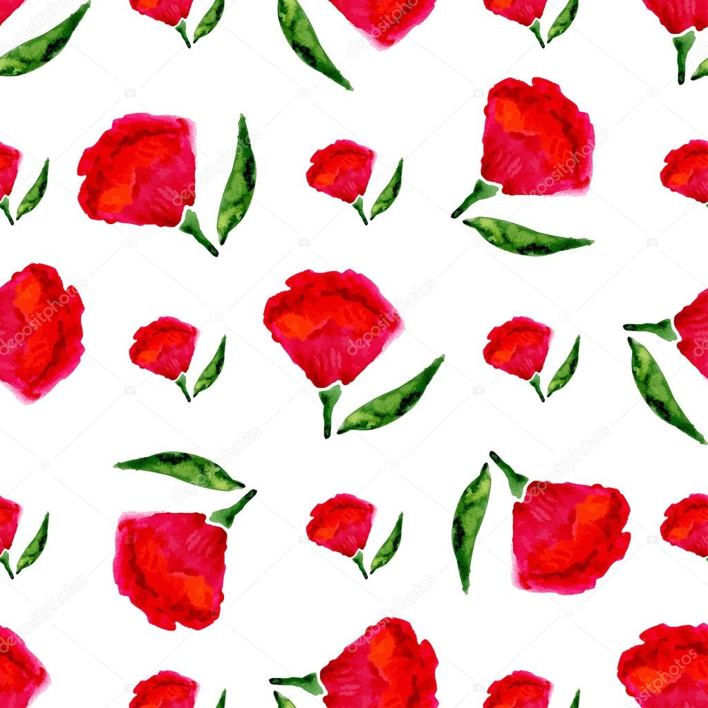 Floral seamless watercolor pattern. Vector bright red flowers on white background. Vector texture for fabric, print, textile etc.