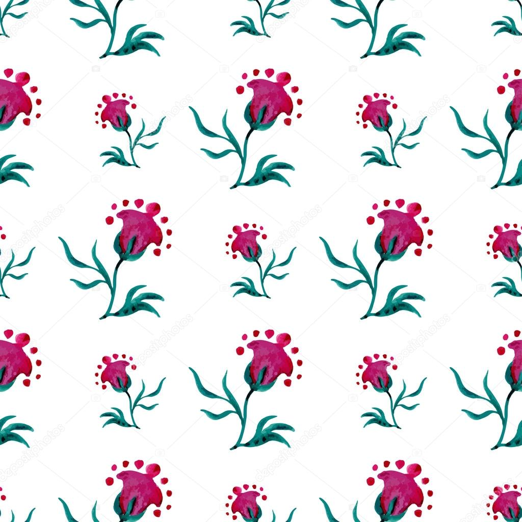 Seamless pattern with fantasy modern flowers on a white background. Watercolor illustrations. Vector watercolor.