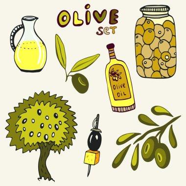 Hand drawn olive set.