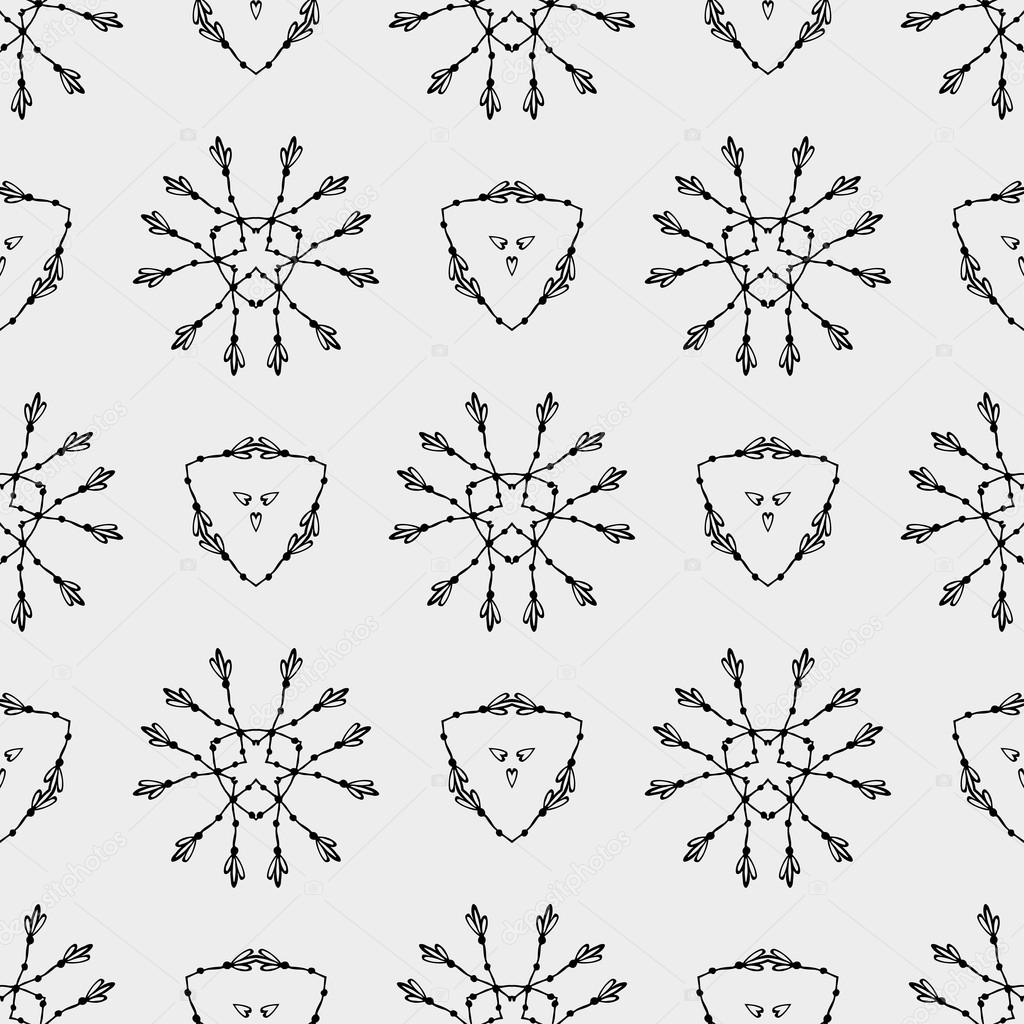 Geometric Pattern With Triangle And Ethnic Floral Circles Texture