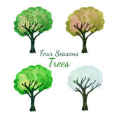Season trees set. Watercolor isolated trees vector set. Hand paint illustration