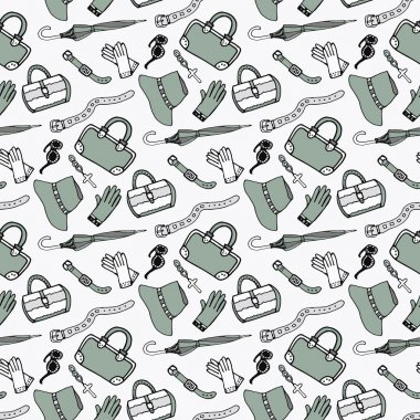 Doodle hand drawn girls fashion accessories and handbags seamless pattern.