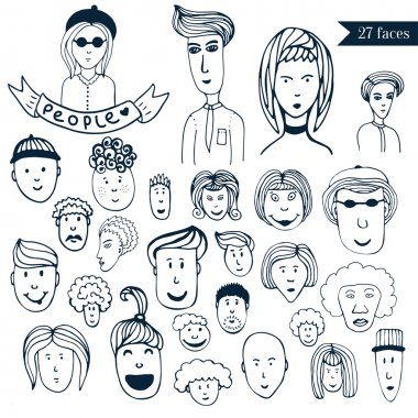 Hand-drawn people crowd doodle collection of avatars.