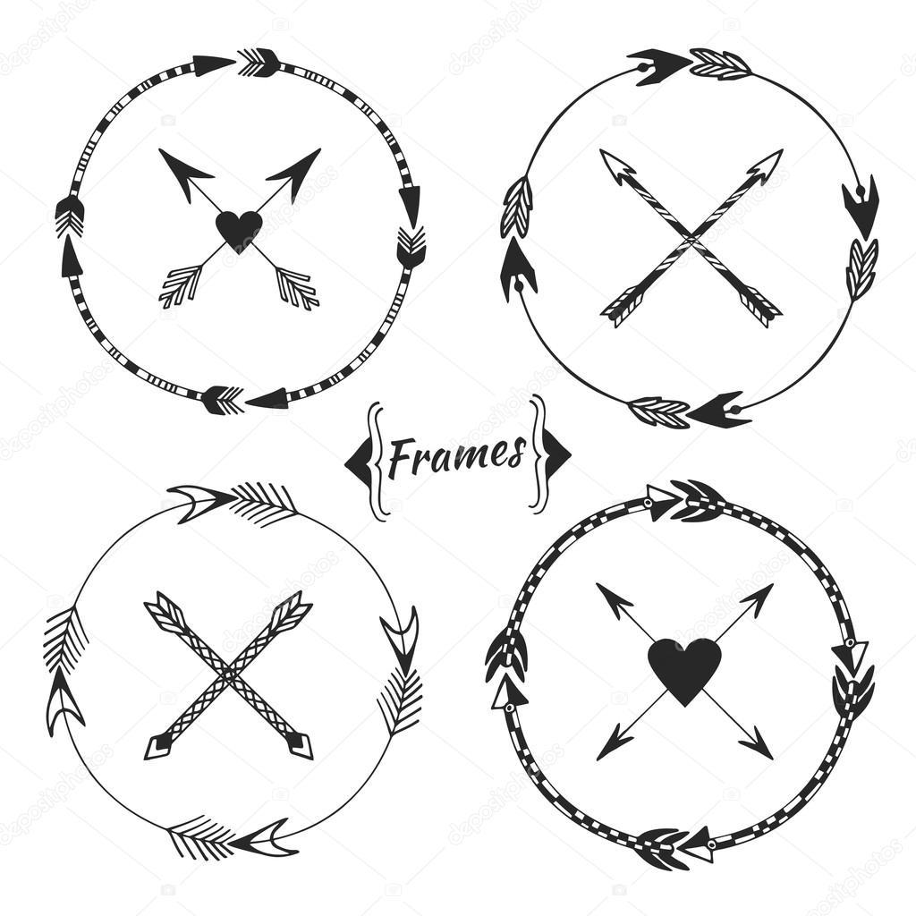 Set of arrow frames, tribal border. — Stock Vector © m-ion #72503515