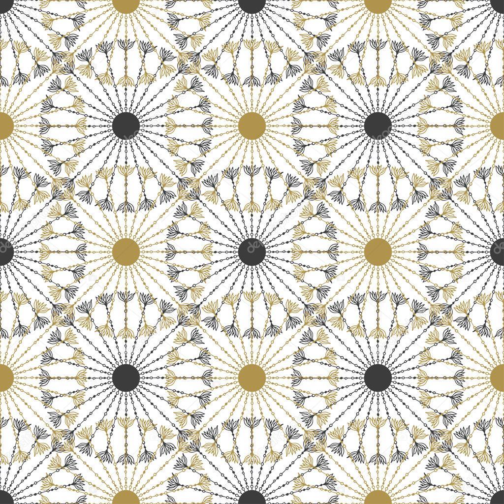 Vintage negro y oro círculo patrón — Vector de stock © m-ion #72503785