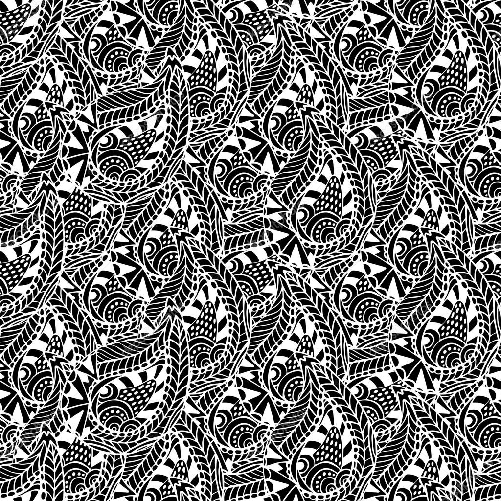 Ornamental seamless pattern. Vector black and white texture. Seamless vector template can be use for wallpaper, pattern fills, textile, fabric, wrapping, surface textures for design