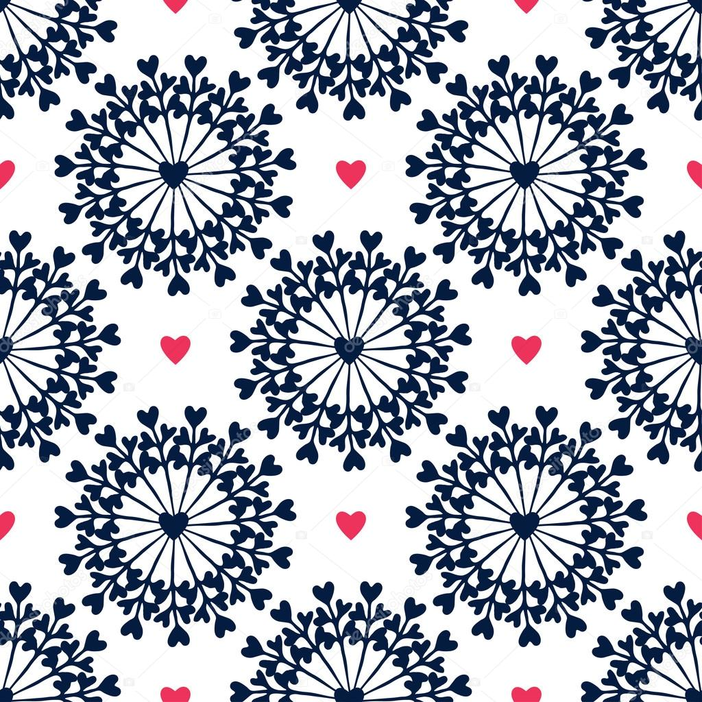 Seamless Pattern With Hand Drawn Circles And Hearts Ornate Floral