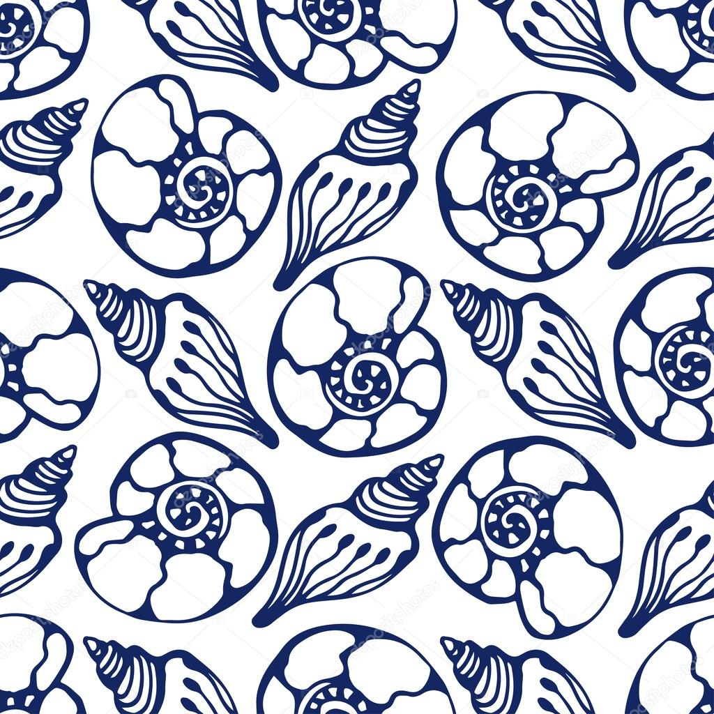 Shells seamless pattern in blue color. Hand drawn sea shells. Vector marine background texture for fabric, gift paper, textile