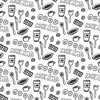 Good morning seamless pattern. Vector seamless pattern with doodle tea cups, plate, chocolate, spoon and fork, cakes. Hand drawn texture.