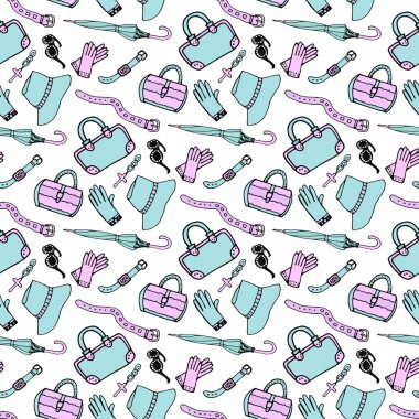 Doodle hand drawn fashion accessories and handbags seamless pattern in blue and pink pastel colors. Sketch shopping background