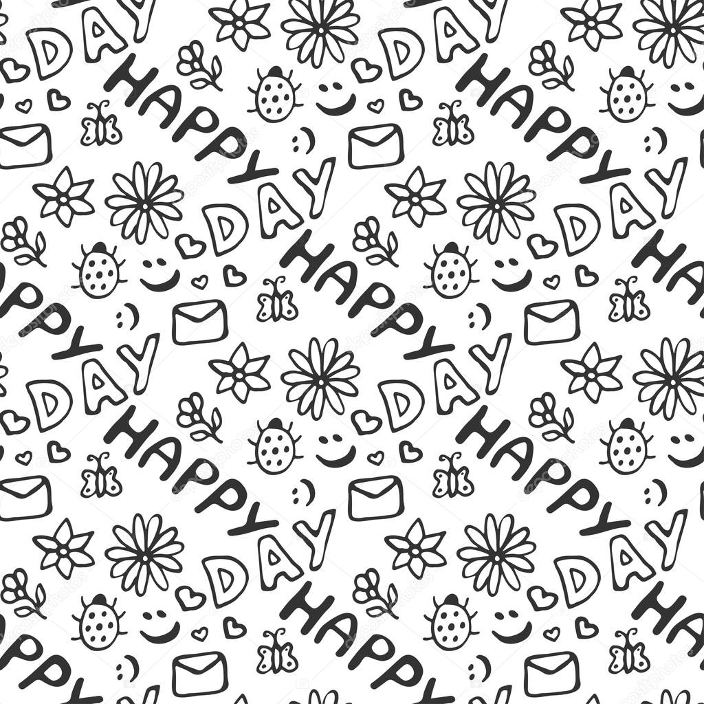 Cute doodle seamless pattern with hearts, flowers, ladybirds, smiles, butterfly and letter. Happy day background.