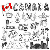 Canada flag and doodle lettering.