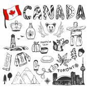 Fotografie Canada flag and doodle lettering.