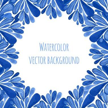Blue floral banner frame