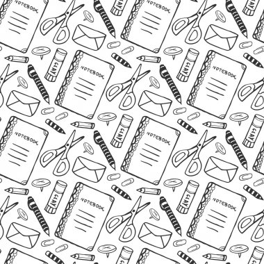 seamless pattern with school stationery tools.