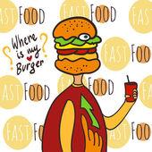 Fényképek Éhes kövér ember fejjel burger