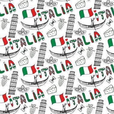 Italy hand drawn seamless pattern