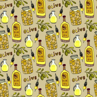 Bright olives seamless pattern.