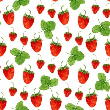 strawberries and leaves on the white background