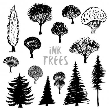 Trees silhouette vector.