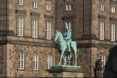 The bronze equestrian statue of Christian IX (1927). Christiansborg Palace, Copenhagen, Denmark.