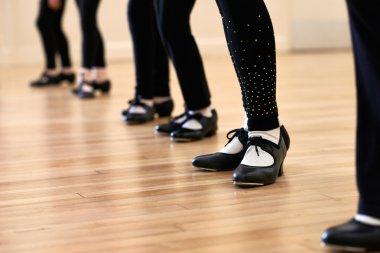 Close Up Of Feet In Children's Tap Dancing Class