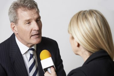 Businessman Being Interviewed By Female Journalist With Micropho