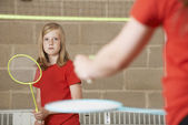Fényképek Két lány játék tollaslabda Iskola tornaterem