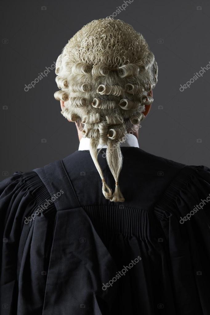 Barrister Wearing Wig And Gown From Behind — Stock Photo ...
