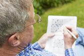Senior férfi csinál a kertben keresztrejtvény