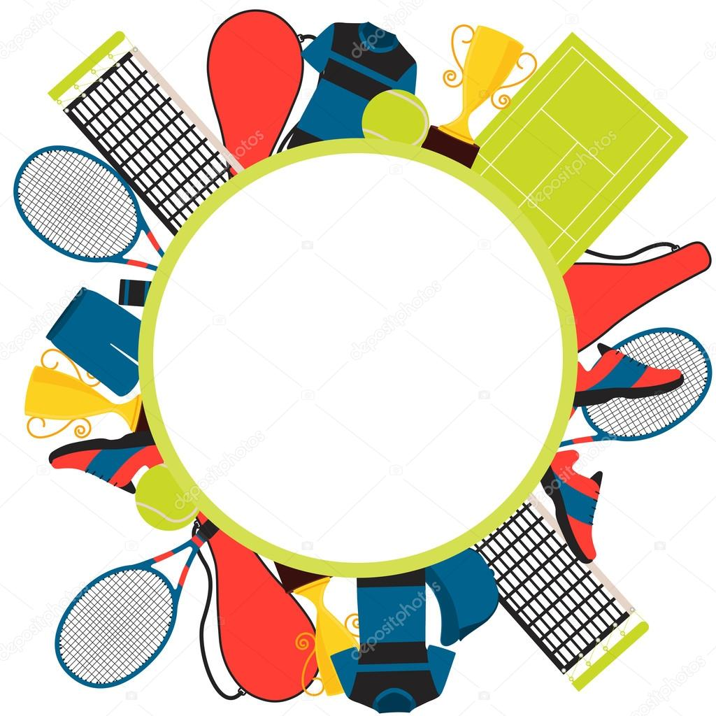 Frame tennis. Clothes and equipment. Vector illustration — Stock ...