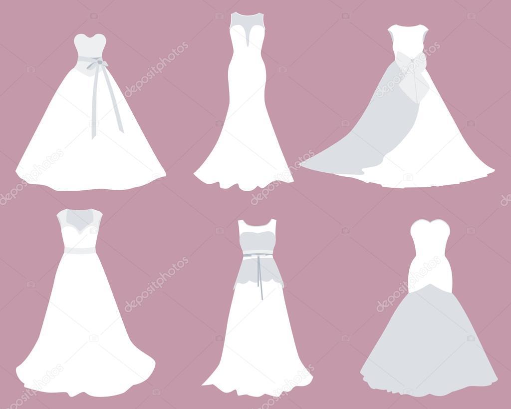 Encuentra vestidos de Novia de diferentes estilos. Ilustración de ...