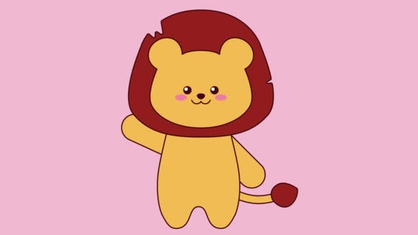 Greeting cute lion on pink background