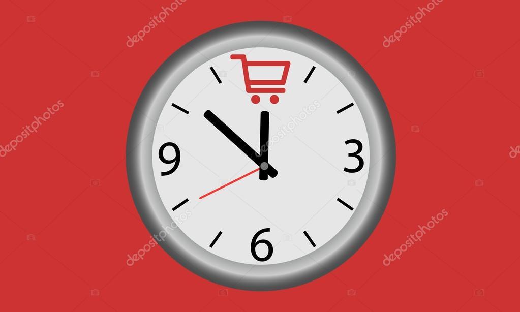 Horloge Om tijd om te winkelen. horloge met winkelen manden symbool