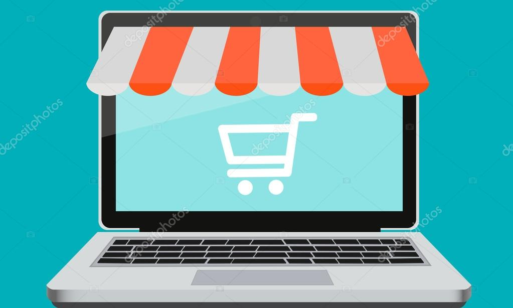 Tiendas De Ordenadores Online.Tienda Online De Escaparate En Un Ordenador Portatil Y El