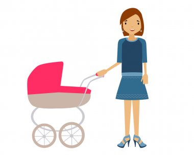 A woman with a pram. Young mum walks with the child. Vector illustration stock vector