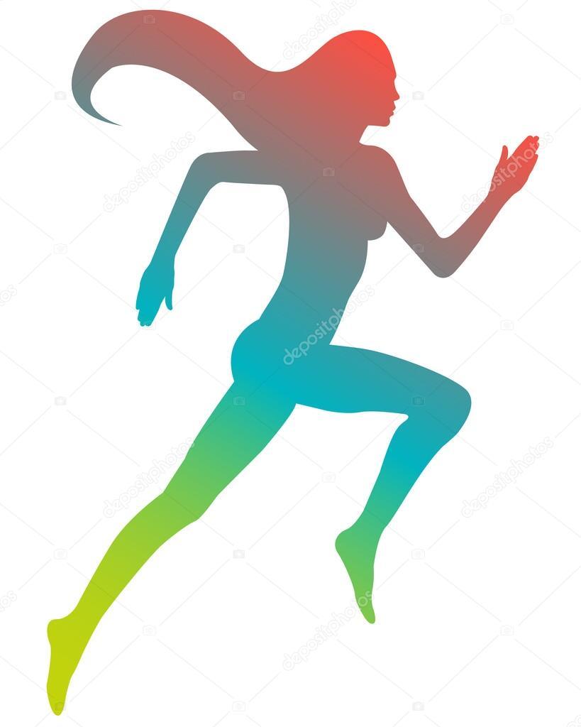 cor silhueta correndo garota com cabelo comprido ilustração