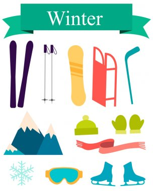 Icons winter. Sports accessories and equipment. Vector illustration
