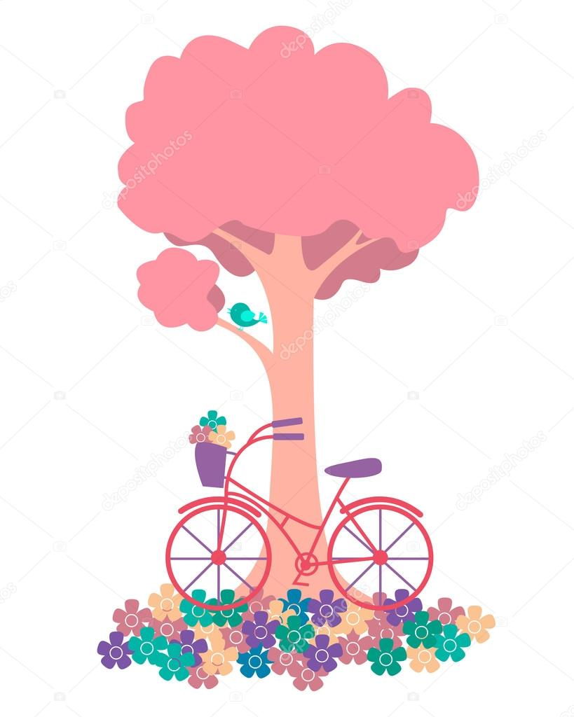 Spring. Tree with flowers and bicycles. Vector illustration