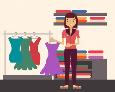 Sales clerk. Girl holding a dress in a clothing store. Vector illustration