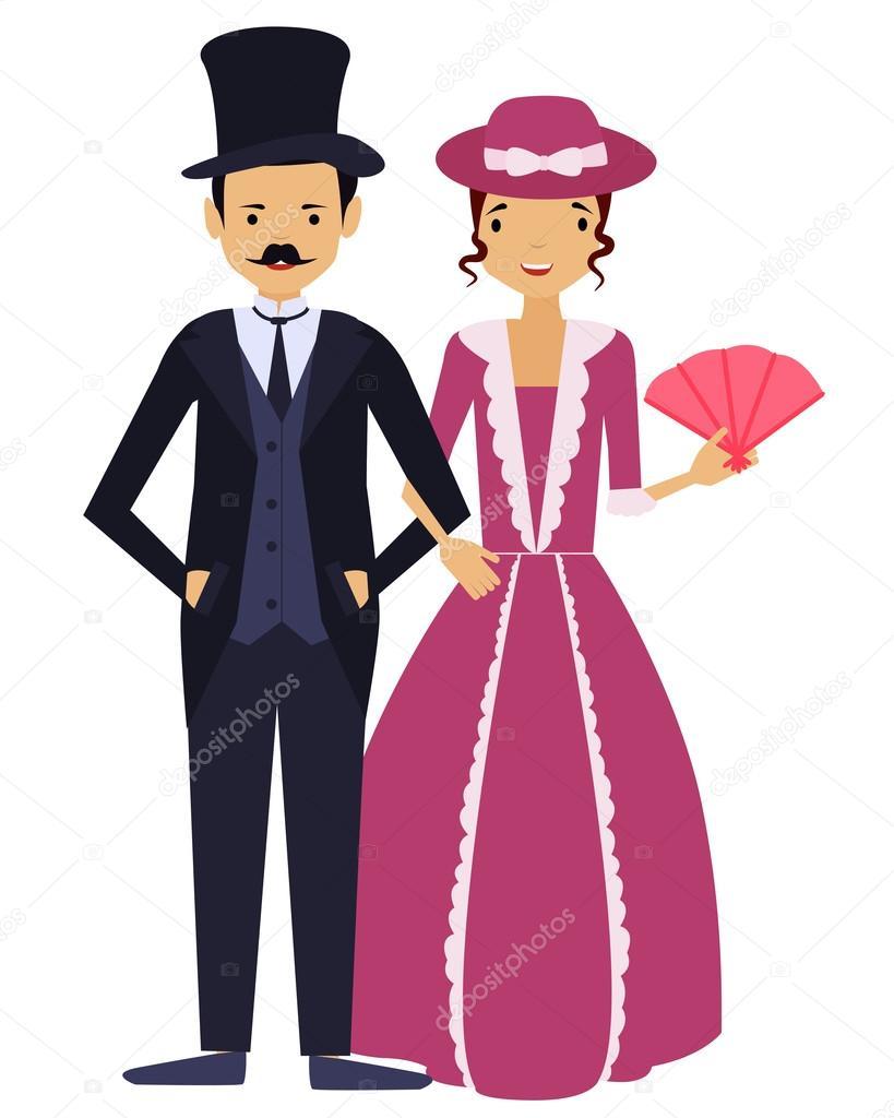 Señoras y señores. Hombre y mujer en ropa de la vendimia ...
